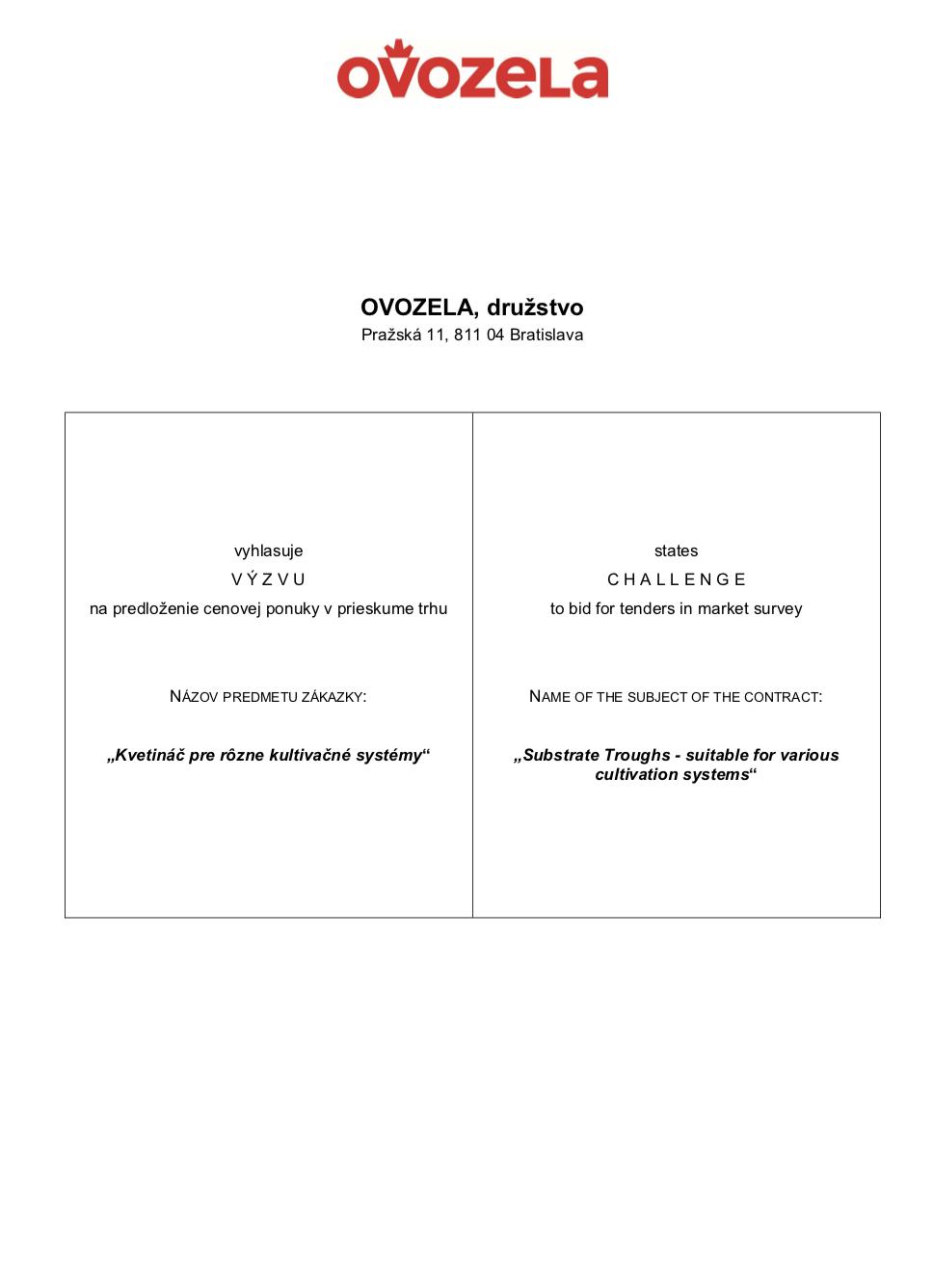 VÝZVA na predloženie ponuky v prieskume trhu: Kvetináč pre rôzne kultivačné systémy